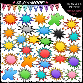 Blank Superhero Bubbles Art Clip Art - Headers - Labels Cl