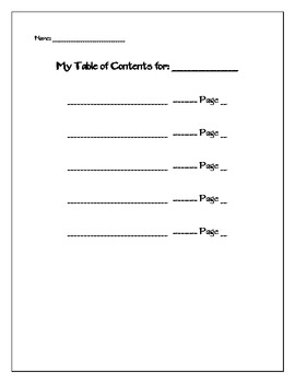 Blank Table of Contents