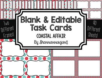 Blank Task Cards - Coastal Affair Color Scheme