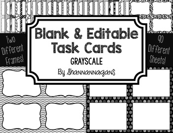 Blank Task Cards - Grayscale Color Scheme