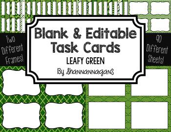 Blank Task Cards - Leafy Green Color Scheme