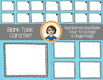Blank Task Cards - Numbered and Empty - Blue Chevron