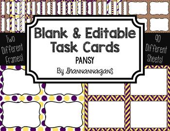 Blank Task Cards - Pansy Color Scheme