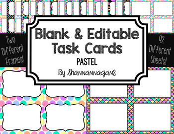 Blank Task Cards - Pastels