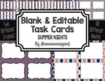 Blank Task Cards - Summer Nights Color Scheme