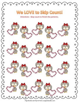 Blank Valentine's Skip Counting Page