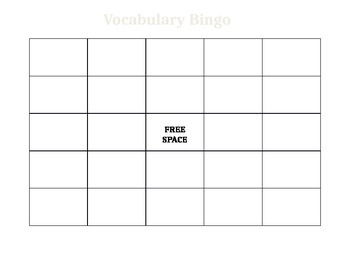 Blank Vocabulary Bingo
