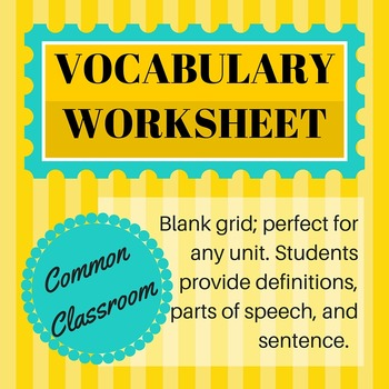 FREE! Blank Vocabulary Worksheet