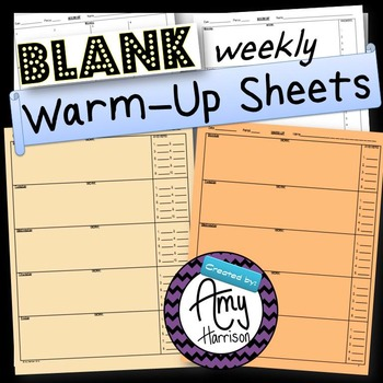 Blank Warm-Up Sheet Options