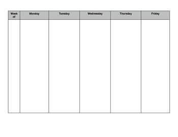 Blank Weekly Lesson Plan Calendar