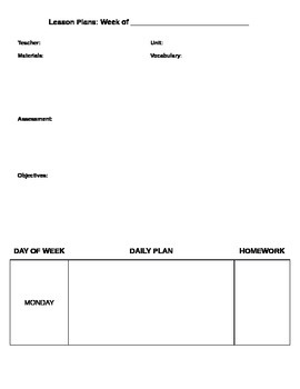 Blank Weekly Syllabus/Lesson Plan Template