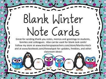 Blank Winter Themed Note Cards/Task Cards