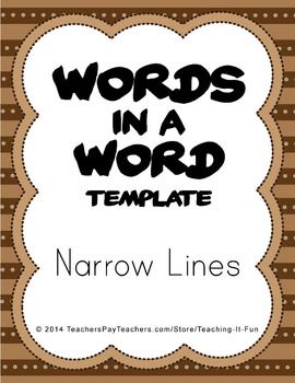 Blank Words In A Word Template With Narrow Lines : Fifth &