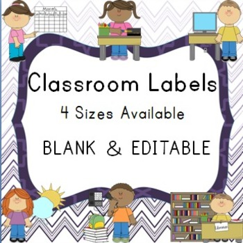 Blank and Editable Classroom Labels and Frames in Chevron