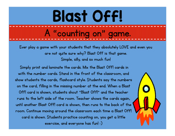 """Blast Off - A """"Counting On"""" Game"""