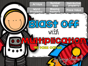 Blast off with Multiplication Task Cards - Differentiated