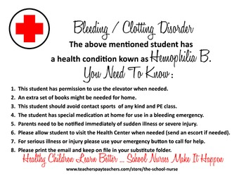 Bleeding / Clotting Disorder - Hemophilia B informational card