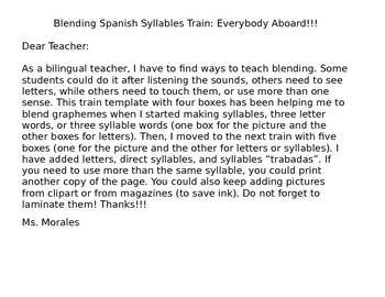 Blending Spanish Syllables Train: Todos a bordo