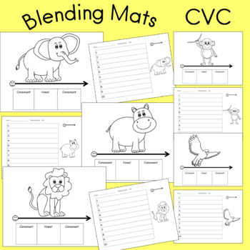 Blending Word Mats CVC Phonemic Awareness