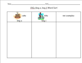 Word Work Word Sort CVCe
