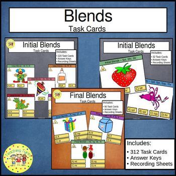 Initial and Final Blends Task  Cards Bundle