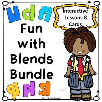 Blends Bundle / L Blends Interactive Lessons & Matching Ca