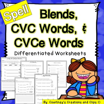Blends, CVC, and CVCe Words- Differentiated