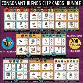 ESL Phonics Resources: Blends Clip Cards Bundle