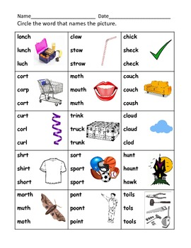 Blends, Digraphs, Diphthongs Mixed Practice (K-1st)