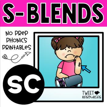 """Blends Phonics NO PREP Printables for """"sc"""""""