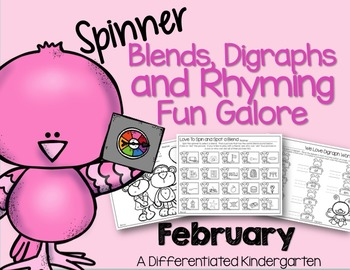 Blends, Rhymes and Digraph Spinner Fun for February-Differ