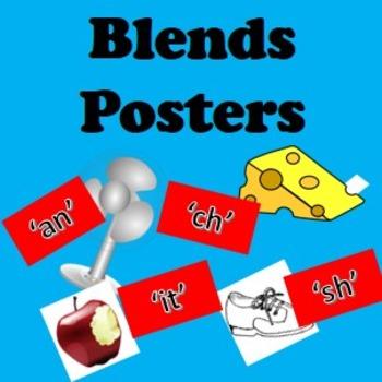 Blends words and posters- sh, ch, an, op, in, en, un