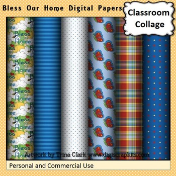 Bless Our Home Digital Papers Set Color  personal & commer
