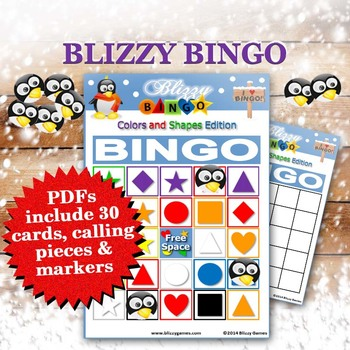 Blizzy Bingo COLORS AND SHAPES printable PDFs