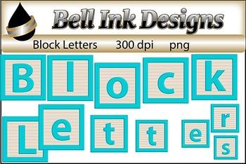 Block Alphabet-Aqua-Clipart