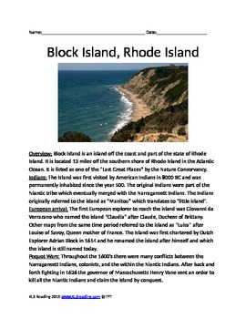 Block Island - Rhode Island - lesson - review article ques