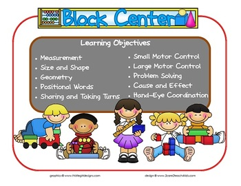 Block Learning Center Sign~ With Objectives