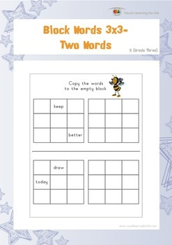 Block Words 3x3 (3rd Grade)