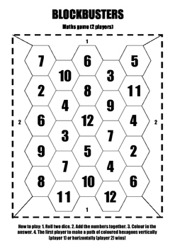 Blockbusters - Maths / addition / dice game