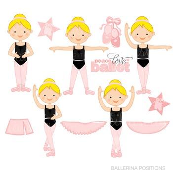 Blonde Ballerina Positions Cute Clipart, Ballet Clip Art