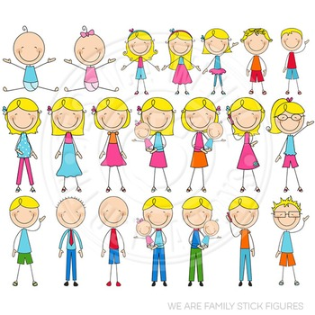 Blonde We Are Family Stick Figures Cute Clipart, Stick Fig
