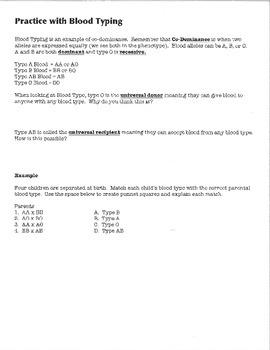 Blood Type Practice Word Problems