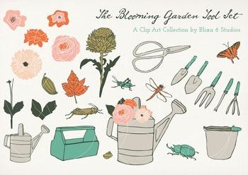 Blooming Garden Clip Art Graphics of Bugs, Butterflies & Flowers