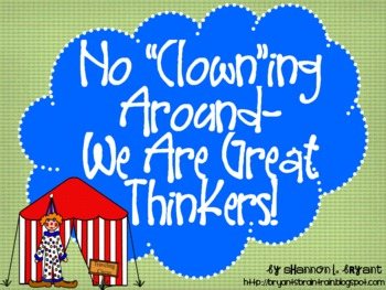 Circus Bloom's Taxonomy Posters (No Clowning Around--We Ar