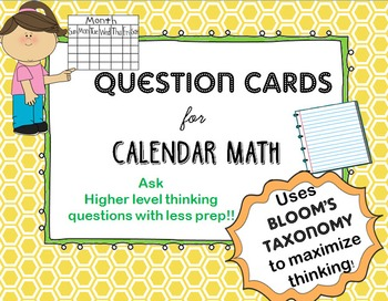 Question Cards for Calendar Math- Blooms' Taxonomy