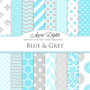 Blue And Grey Digital Paper patterns - backgrounds