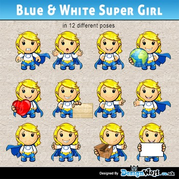 Blue And White Super Girl – 12 Poses – JPEG & PNG Format Only