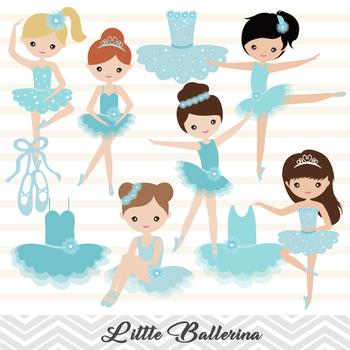 Blue Ballerina Digital Clip Art Blue Ballet Girl Clip Art