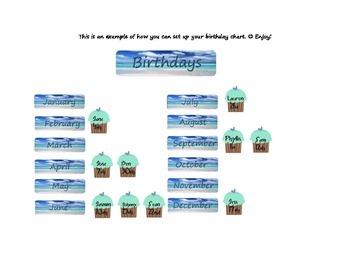 Blue Beach Birthday Chart with Cupcakes
