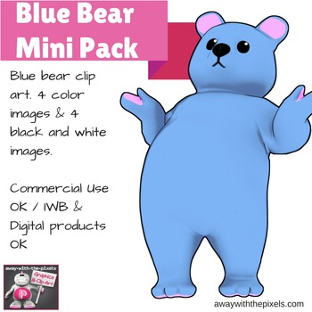 Blue Bear Clip Art Mini Pack - 4 Color and 4 Black and Whi